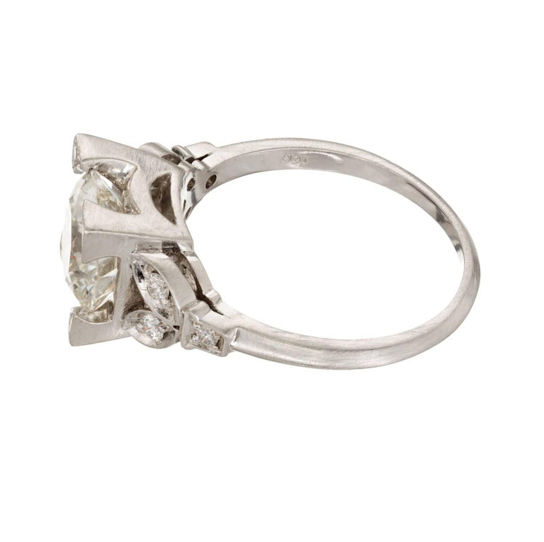 2.33 Carat Diamond Transitional Cut Art Deco Platinum Engagement Ring 4
