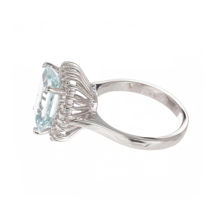Emerald Cut 3.00 Carat Natural Aqua Diamond Halo Gold Cocktail Ring For Sale