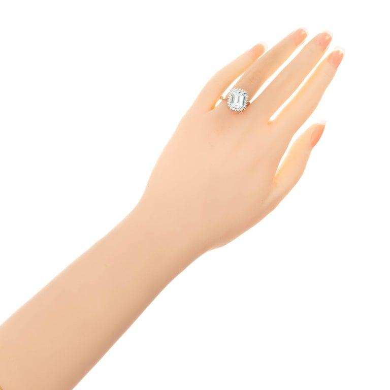 Women's 3.00 Carat Natural Aqua Diamond Halo Gold Cocktail Ring For Sale