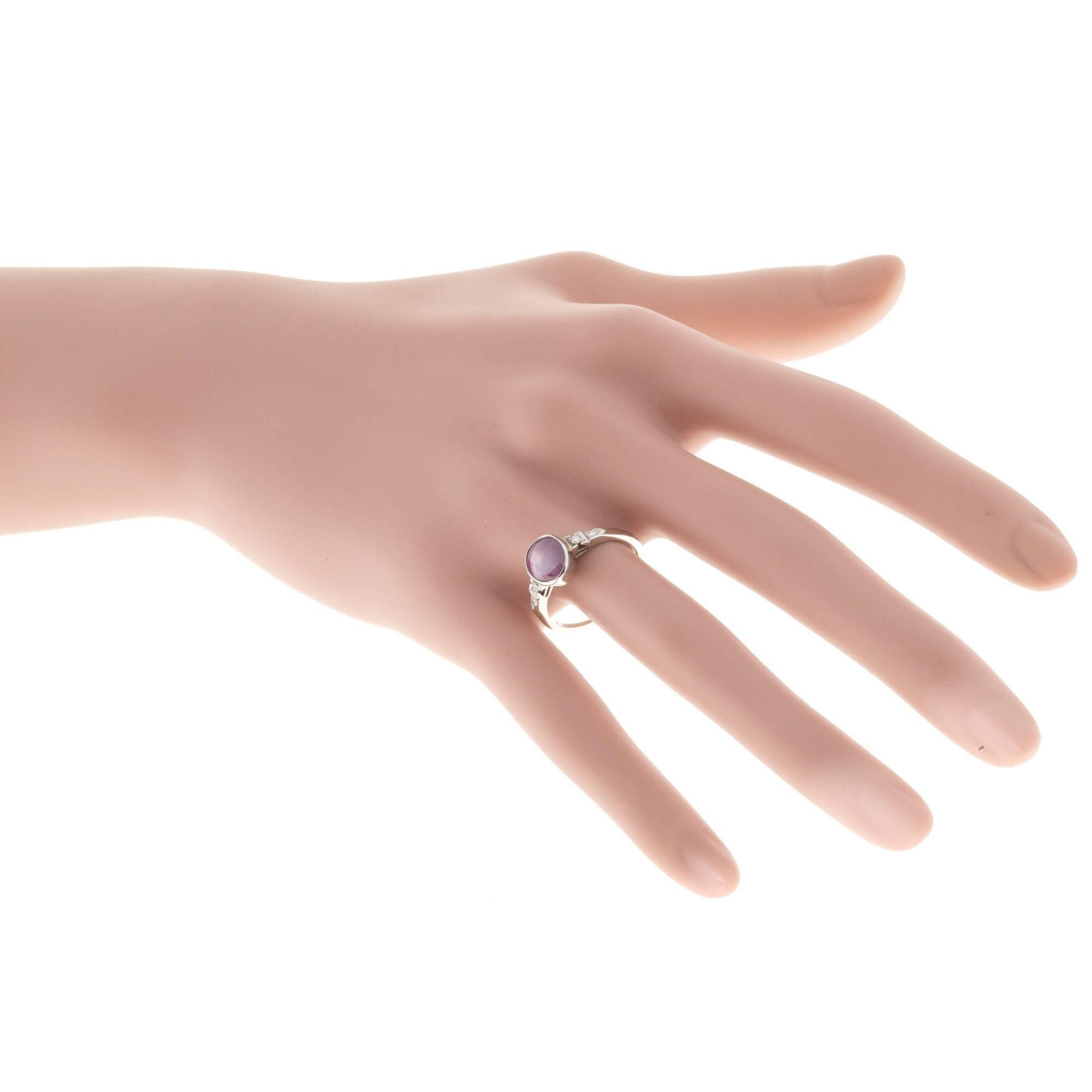 2.62 Carat Natural Purple Pink Star Sapphire Diamond Gold Engagement ...