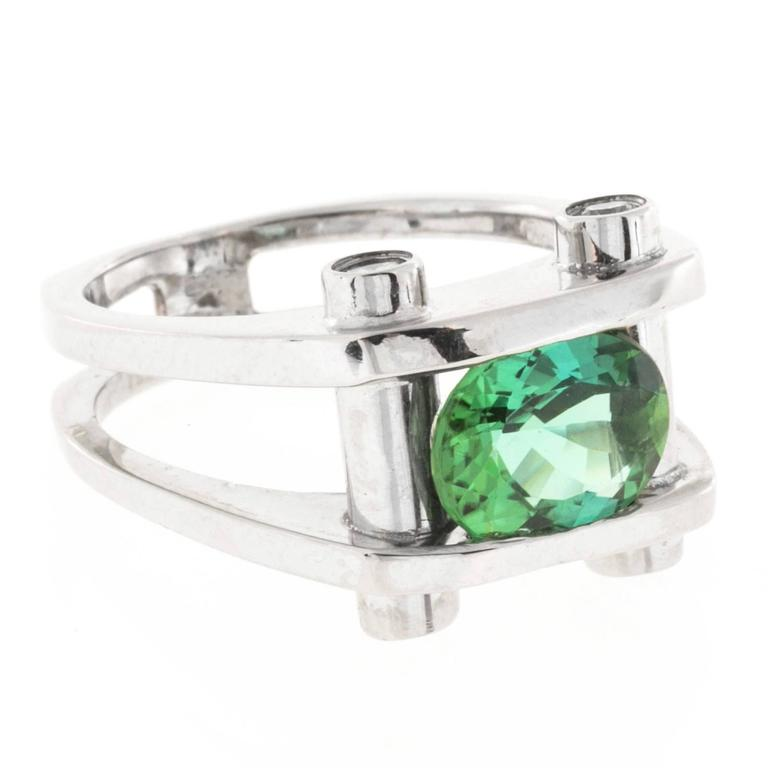 Green Tourmaline Diamond Gold Ring For Sale 2