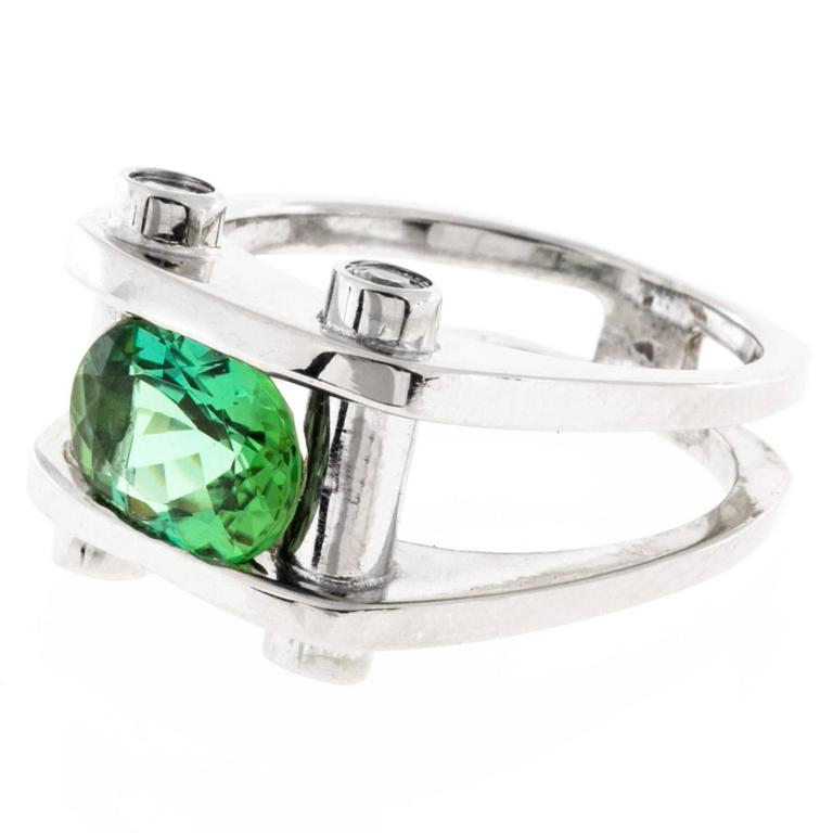 Green Tourmaline Diamond Gold Ring