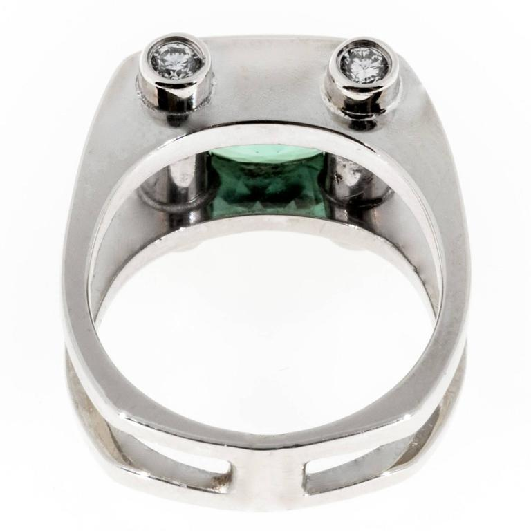 Green Tourmaline Diamond Gold Ring For Sale 1