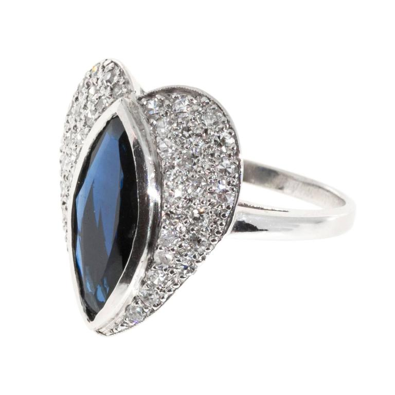 Marquise Sapphire Pave Diamond Platinum heart Ring For Sale