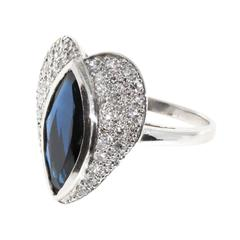 Marquise Sapphire Pave Diamond Platinum heart Ring
