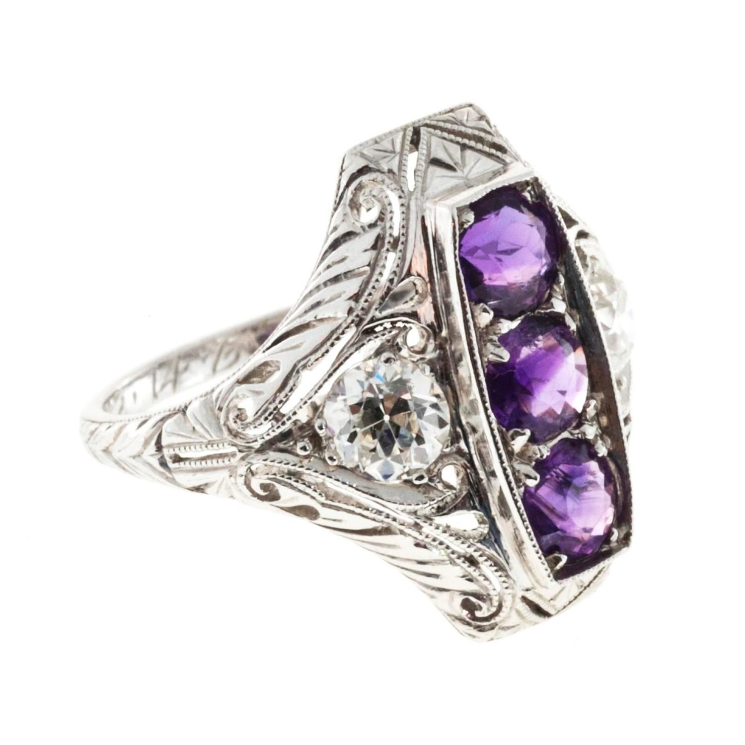 three amethyst platinum rectangular ring for sale