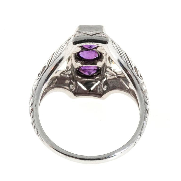 three amethyst platinum rectangular ring at 1stdibs
