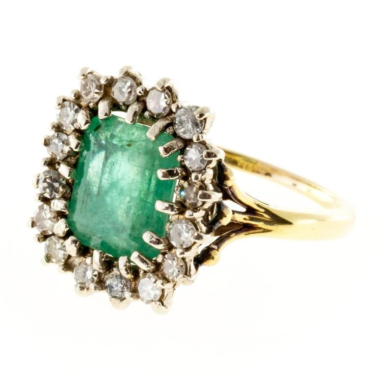 Green Emerald Round Diamond Yellow White Gold Ring
