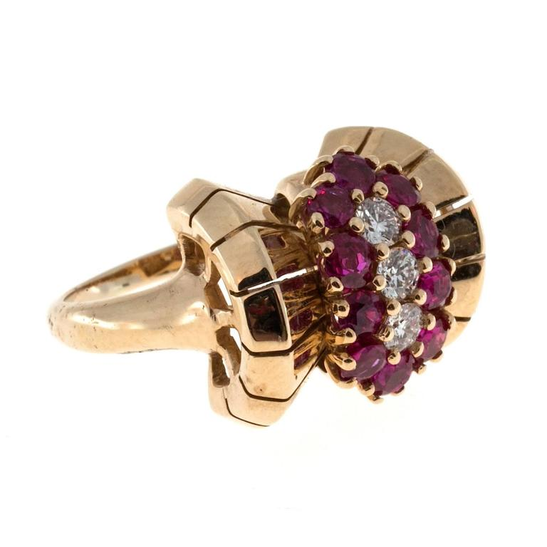 Ruby Diamond Yellow Gold Cocktail Ring For Sale 1