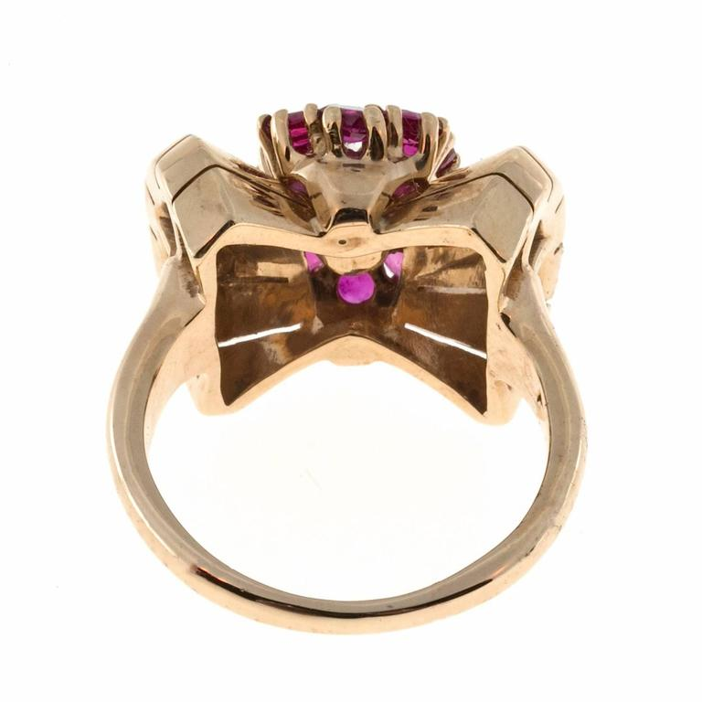 Ruby Diamond Yellow Gold Cocktail Ring For Sale 2