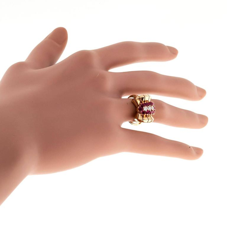 Ruby Diamond Yellow Gold Cocktail Ring For Sale 3