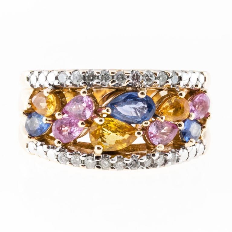 Multi Color Sapphire Diamond Gold Ring