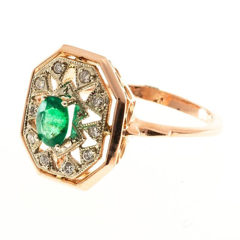 Oval Emerald Diamond Gold Ring