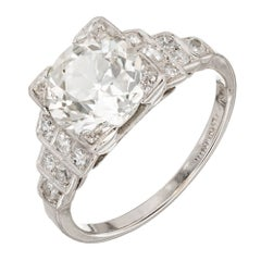 Egl Certified 2.07 Carat Art Deco Diamond Platinum Engagement Ring