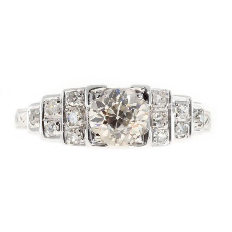 Art Deco Diamond Step Design Gold Engagement Ring