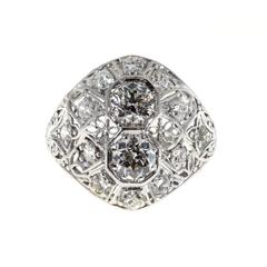 Art Deco Diamond Domed Platinum Cocktail Ring