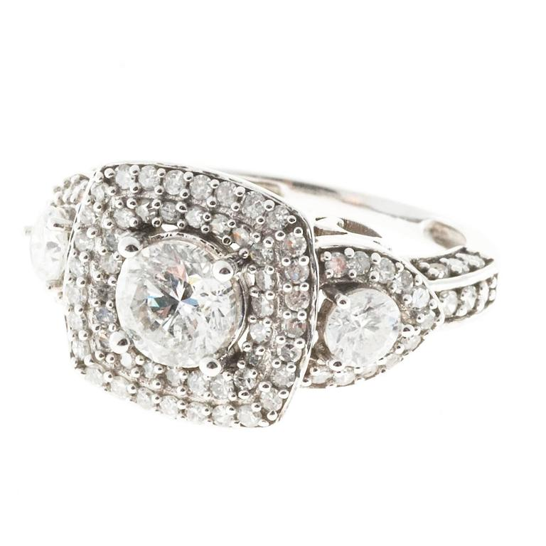 Diamond Platinum Two Row Halo Engagement Ring