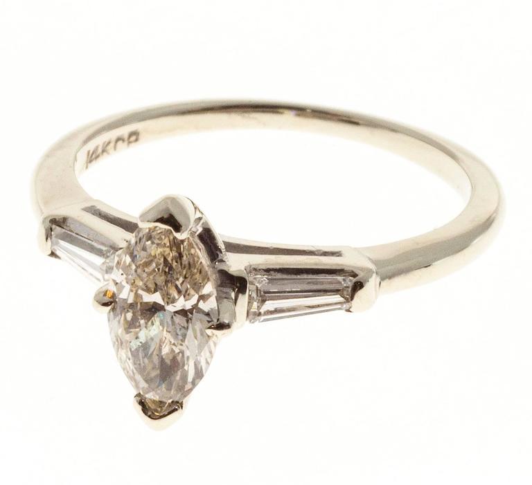 .69 Carat Light Brown Marquise Diamond Three-Stone Gold Engagement Ring 2