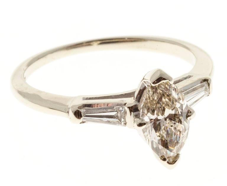 .69 Carat Light Brown Marquise Diamond Three-Stone Gold Engagement Ring 3