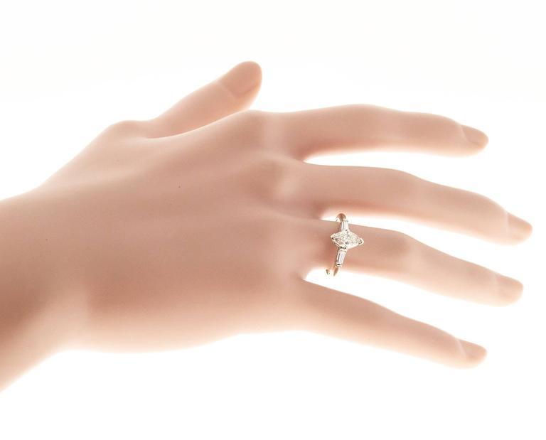 .69 Carat Light Brown Marquise Diamond Three-Stone Gold Engagement Ring 7
