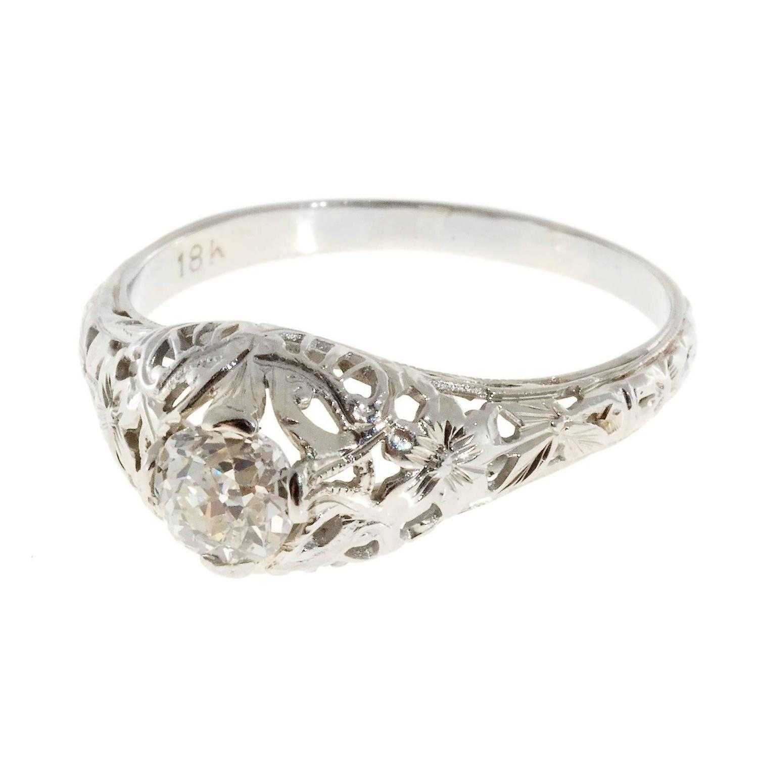 Art deco old mine cut diamond gold open work engagement for Work wedding rings