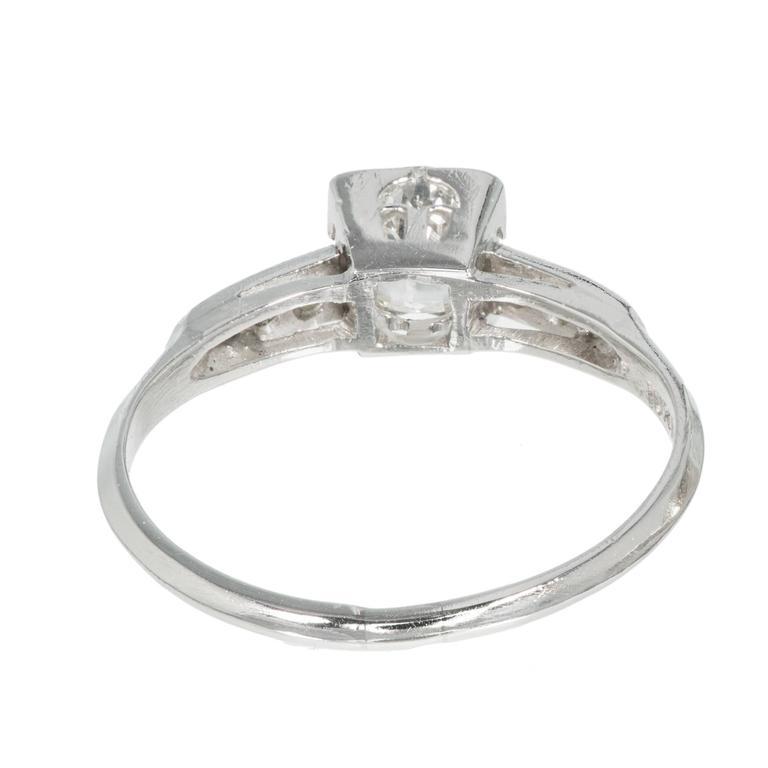 Women's Art Deco Diamond Solid Platinum Engagement Ring For Sale