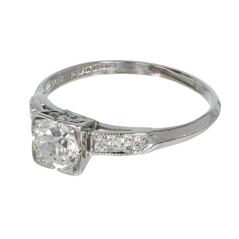 Old European Cut Art Deco Diamond Solid Platinum Engagement Ring For Sale