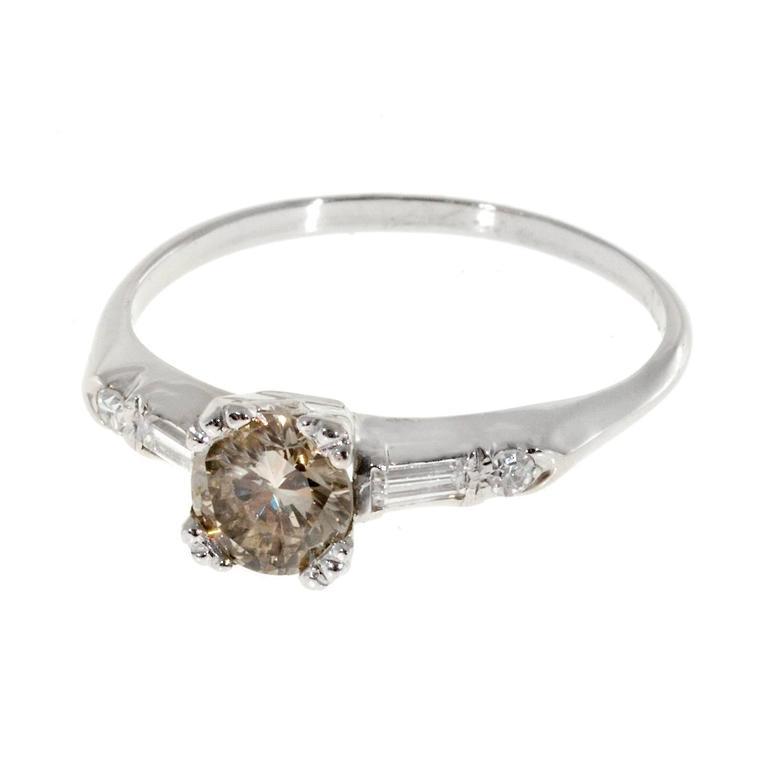 deco light brown baguette gold engagement ring