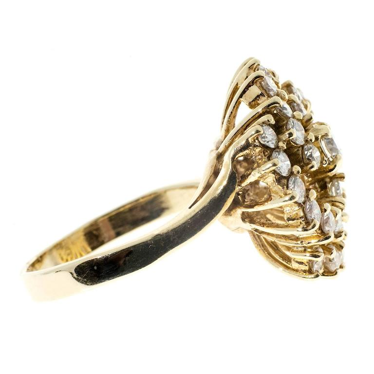 1.50 Carat Large Diamond Swirl Yellow Gold Cocktail Ring For Sale 1