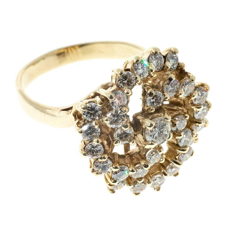 1.50 Carat Large Diamond Swirl Yellow Gold Cocktail Ring In Good Condition For Sale In Stamford, CT