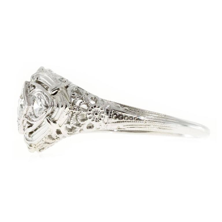 Art Deco Diamond Three Stone Filigree Platinum Gold Engagement Ring For Sale