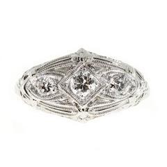 Art Deco Diamond Three-Stone Filigree Platinum Gold Engagement Ring