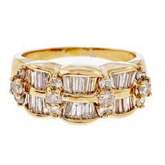 Diamond Wave Yellow Gold Ring, circa 1960
