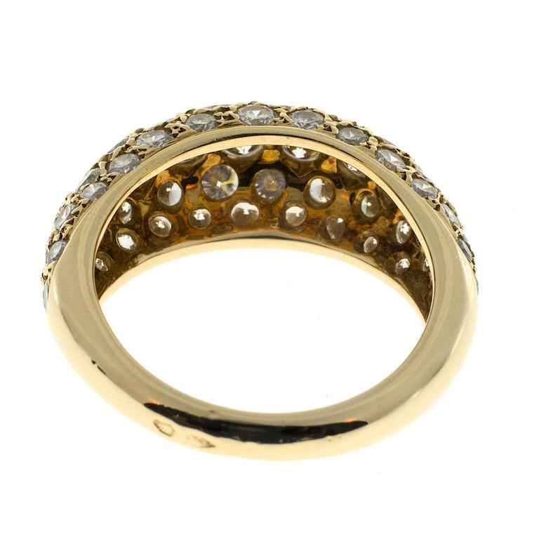 1.00 Carat Pave Diamond Gold Dome Ring For Sale 2