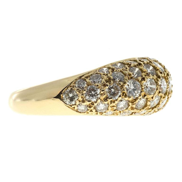 Women's 1.00 Carat Pave Diamond Gold Dome Ring For Sale