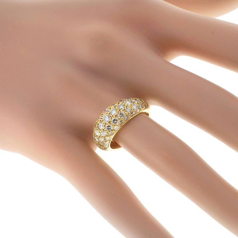 1.00 Carat Pave Diamond Gold Dome Ring For Sale 3