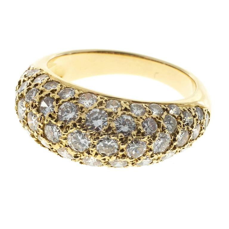 Pave diamond dome ring with excellent sparkly full cut diamonds.  57 full cut diamonds, approx. total weight 1.00cts, G, VS 18k Yellow Gold Tested: 18k European hallmarks 5.4 grams Width at top: 8mm Height at top: 4.5mm Width at bottom: 3mm Size 5