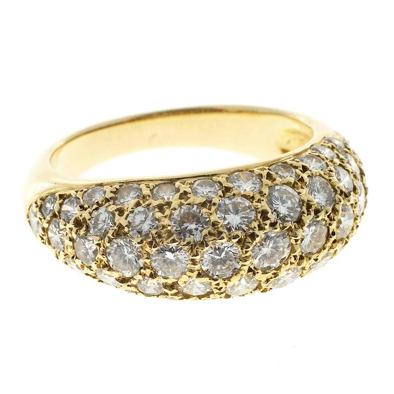 1.00 Carat Pave Diamond Gold Dome Ring For Sale