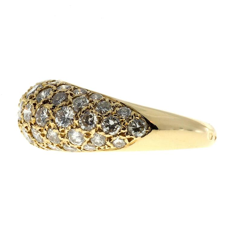 1.00 Carat Pave Diamond Gold Dome Ring For Sale 1