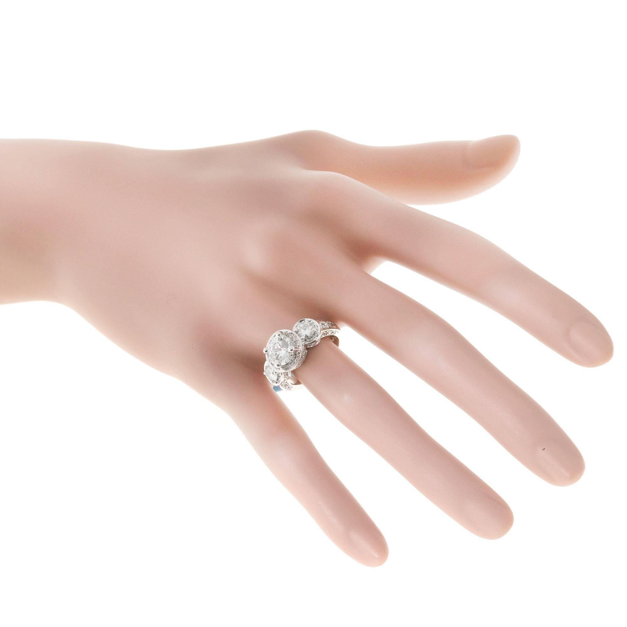 Gregg Ruth Diamond three Stone Platinum Engagement Ring at 1stdibs