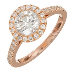 Peter Suchy Gia Certified 1.06 Carat Diamond Halo Rose Gold Engagement Ring