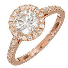 Peter Suchy Gia Certified 1.06 Carat Diamond Halo Rose Gold Engagement Ring
