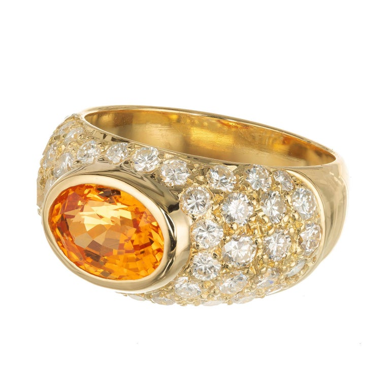 Oval Cut 2.43 Carat Spessartite Garnet Pave Diamond Gold Dome Cocktail Ring For Sale