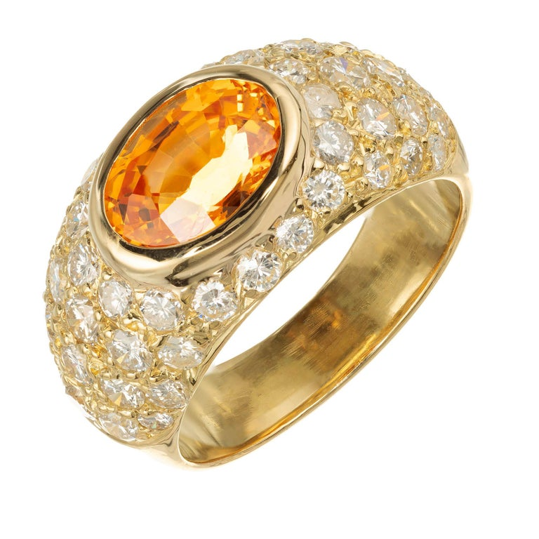 2.43 Carat Spessartite Garnet Pave Diamond Gold Dome Cocktail Ring For Sale