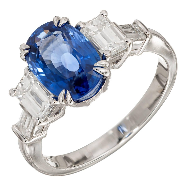 Peter Suchy 3.44 Carat Natural Blue Sapphire Diamond Platinum Engagement Ring