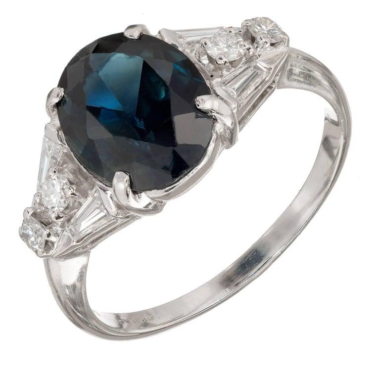 GIA Certified 3.30 Carat Natural Blue Sapphire Diamond Platinum Ring