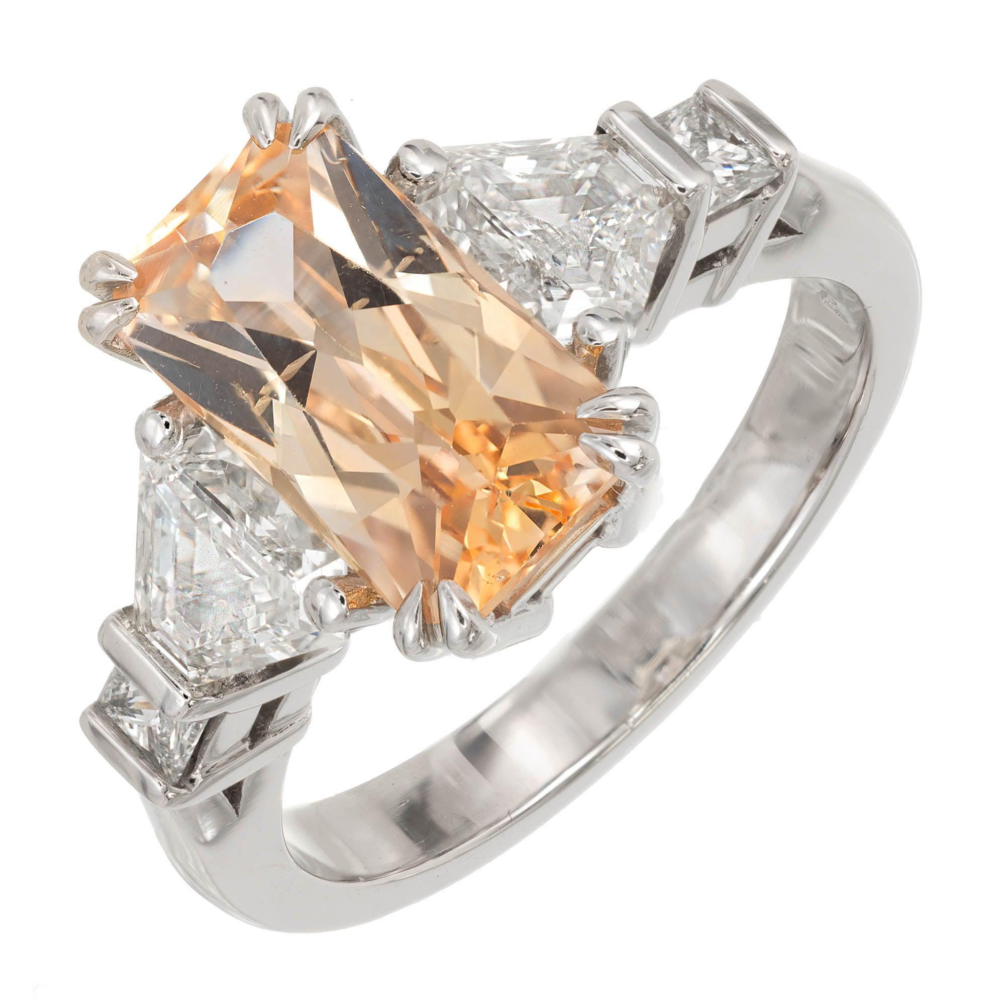 Peter Suchy 3.31 Carat Orange Yellow Sapphire Diamond Platinum Engagement Ring