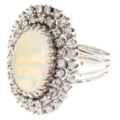 Opal Double Halo Diamond Gold Ring