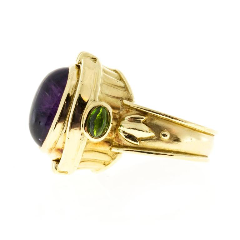 Seidengang Amethyst Tourmaline Gold Flip Ring  In Good Condition For Sale In Stamford, CT