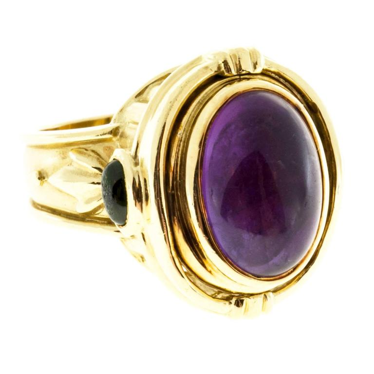 Seidengang Amethyst Tourmaline Gold Flip Ring  For Sale 2